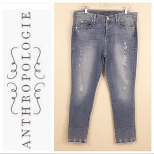 Anthro Level 99 Raw Hem Embroidered Jeans 29